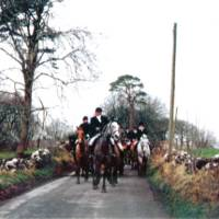 The Hunt riding along the road